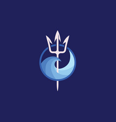 neptune trident logo and sea wave vector image