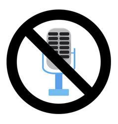No voice in microphone ban karaoke badge vector