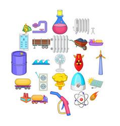 Oil icons set cartoon style vector