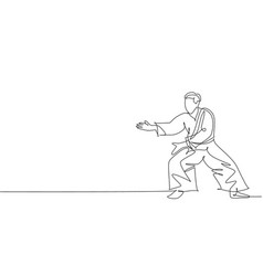 one continuous line drawing young man aikido vector image