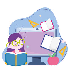 Online education student girl reading book with vector