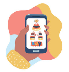 online store on smartphone concepts vector image