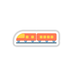 Paper sticker on white background train vector
