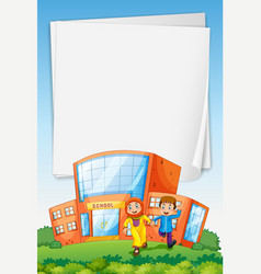 Paper template with muslim kids at school vector