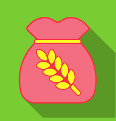 realistic of a bag with wheat barley and sprigs vector image