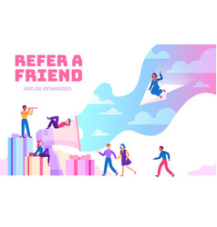 Refer a friend friendly people with megaphone vector