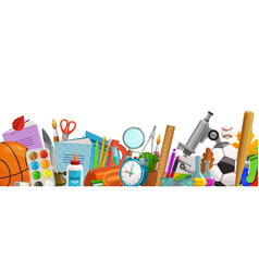 school accessories cartoon education border vector image