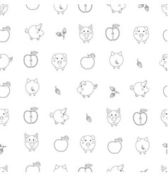 Seamless pattern with small contour cartoon pigs vector