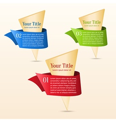 Set of gold banners with ribbon vector