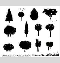 set silhouettes of trees 2 vector image
