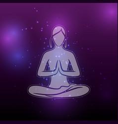 Shiny yoga meditation female silhouette vector