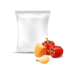 Stack of Potato Chips with Paprika Sealed Bag vector