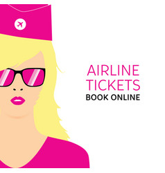 stewardess blonde in pink uniforms with booking vector image