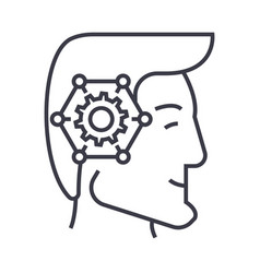 strategic thinking head linear icon sign symbol vector image