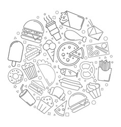 street food circle background from line icon vector image