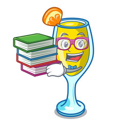 Student with book mimosa mascot cartoon style vector