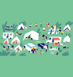 Summer camp festival people or tourists living in vector