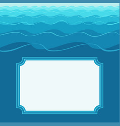 template greeting card with frame on wavy back vector image
