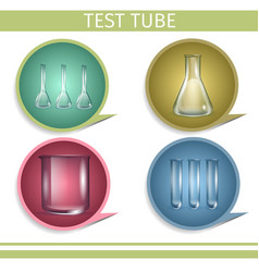 test tube laboratory glassware icon set flasks vector image