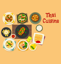 Thai cuisine dinner with fruit dessert icon design vector