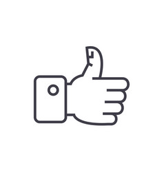 thumbs up line icon sign on vector image