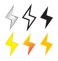 Thunder and lighting bolt icon in many style vector