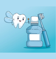 Tooth fairy with mouthwash and toothbrush tool vector