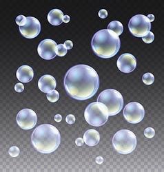 Transparent blue soap bubbles set on plaid vector image vector image