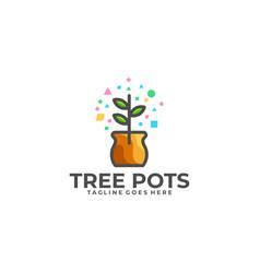 tree pots template vector image