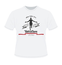 White t-shirt with marathon print Running man vector