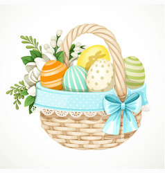 wicker basket light vines with easter colored vector image