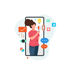 Woman on smartphone screen holding megaphone vector