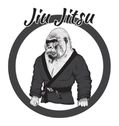 Wrestler gorilla dressed in kimono vector