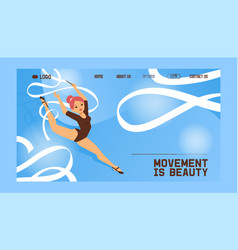 young girl gymnast exercise sport athlete vector image