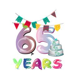 65th anniversary celebration logo design vector image