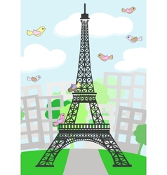 Cartoon Paris with birds vector image