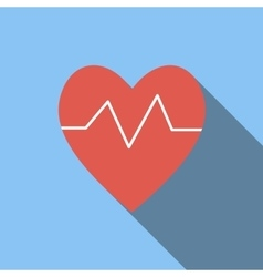 Heartbeat flat icon vector image