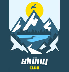 skiing club eagle flying over the mountains vector image vector image