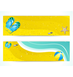 summer beach and flip flop banners vector image vector image