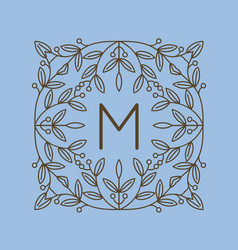 monogram m logo and text badge emblem line art vector image