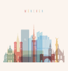 munich skyline detailed silhouette vector image vector image