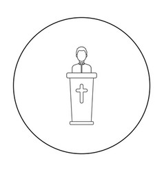 priest icon in outline style isolated on white vector image vector image