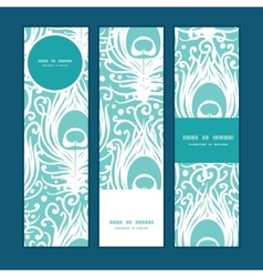 soft peacock feathers vertical banners set pattern vector image vector image