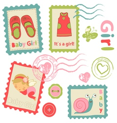Baby girl stamps vector image vector image