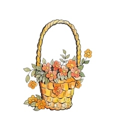 Basket with red flowers vector image vector image