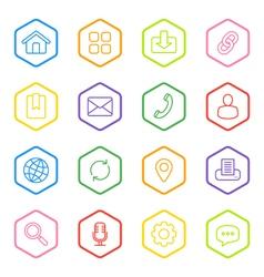 colorful line web icon set hexagon vector image vector image