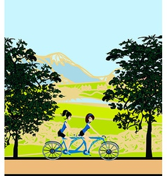 girls riding tandem bicycle vector image