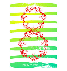 Holiday gift card with hand lettering 8 march vector