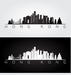 hong kong skyline and landmarks silhouette vector image