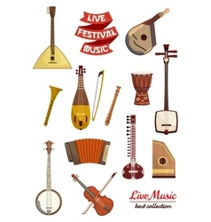 Musical instrument cartoon icon set vector image vector image